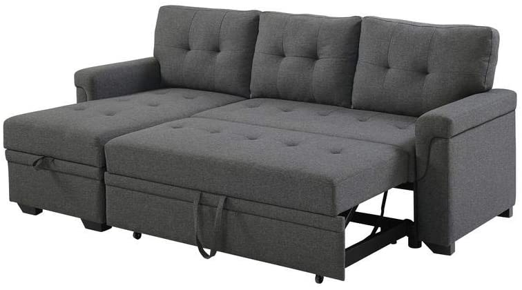 Lilola Home Lucca Linen Reversible Sleeper Sectional Sofa