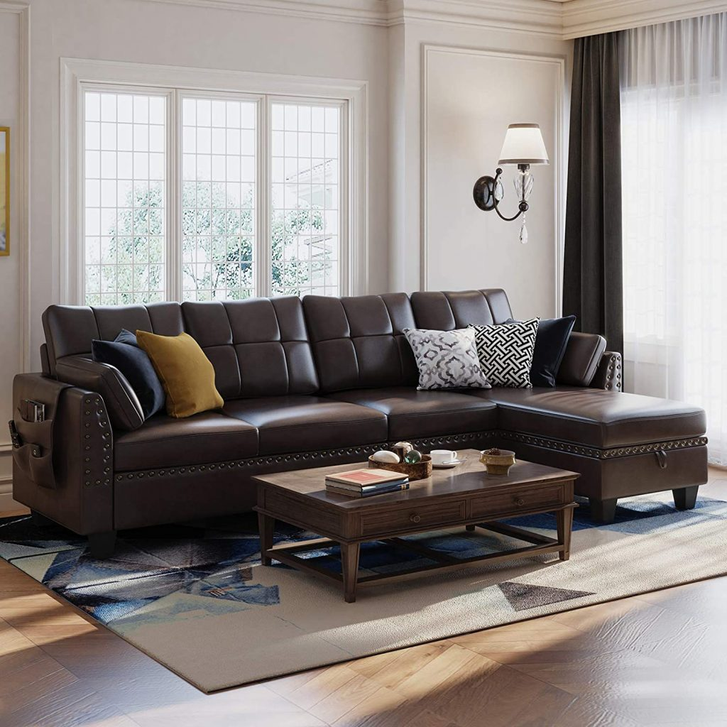 Faux Leather Sectional Sofa Couch