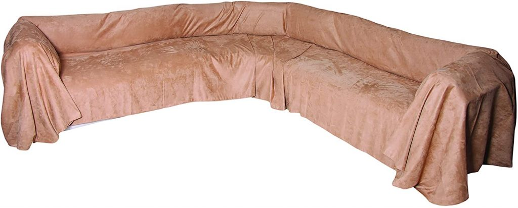 Floppy Ears Design Extra Wide Simple Faux Suede Microfiber Sectional Couch Cover