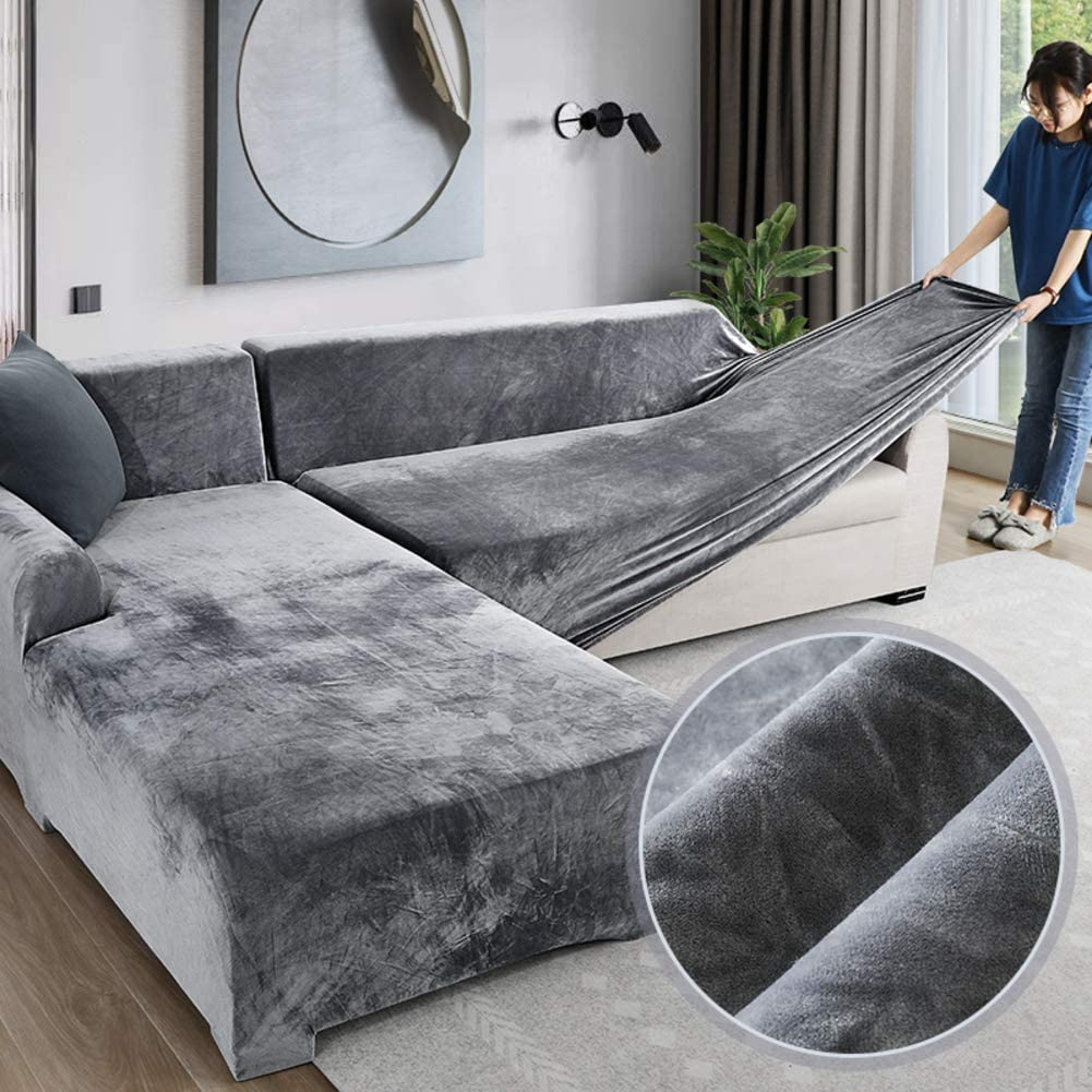 Velvet Plush Couch Cover Sectional Couch