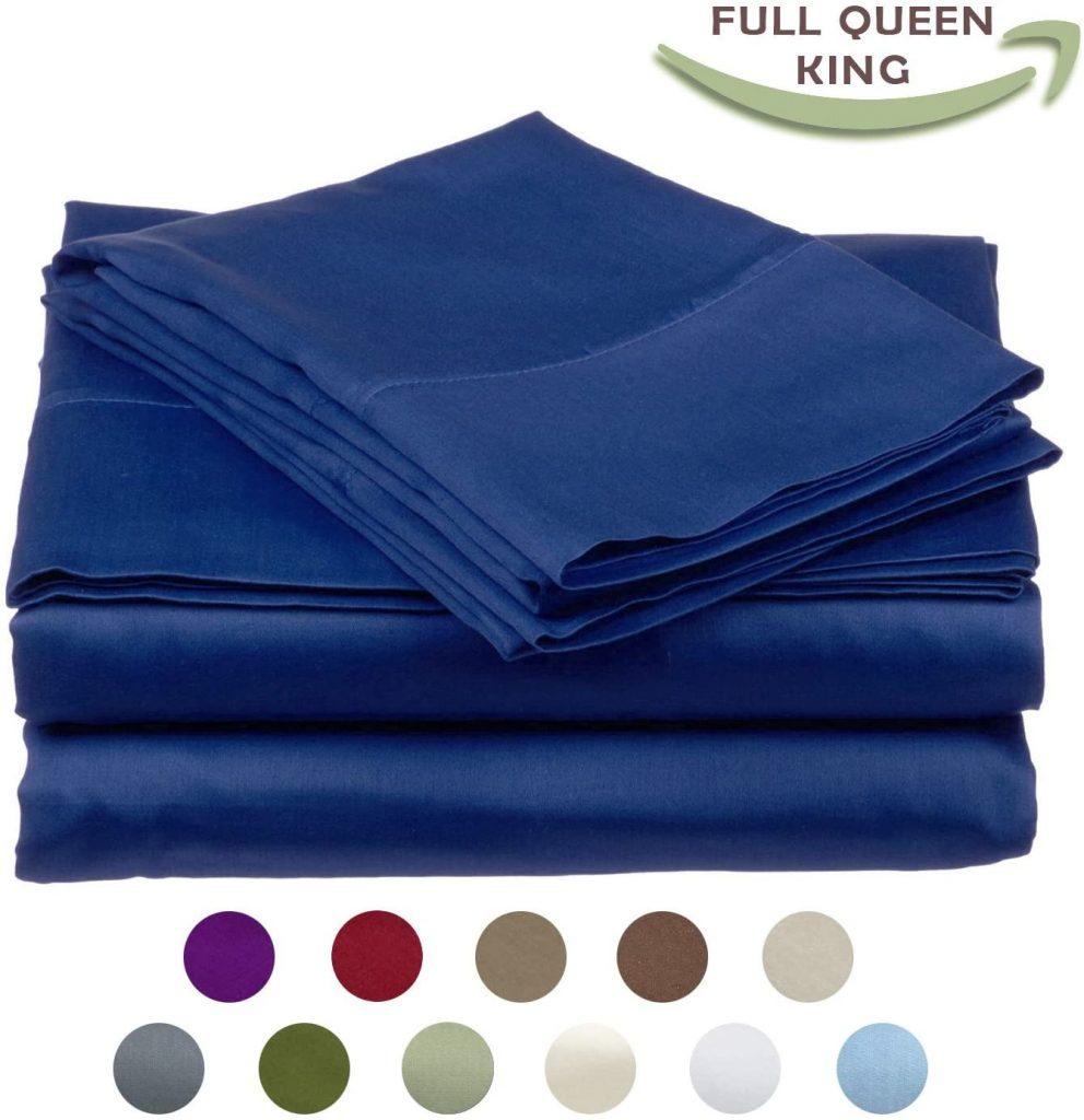 High Strength Natural Bamboo Fiber Yarns Egyptian Comfort 1800 Thread Count 4 Piece KING Size Sheet Set, BLUE Color