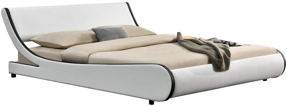 Allewie Modern Low Profile Wave Like King Size Platform Bed