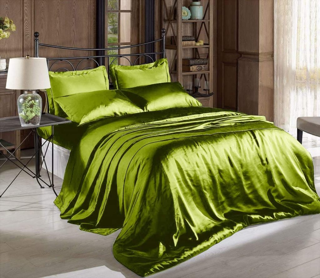 Comfy Deal High Thread Count Solid Color Soft Silky Charmeuse Satin Bed Sheet Set