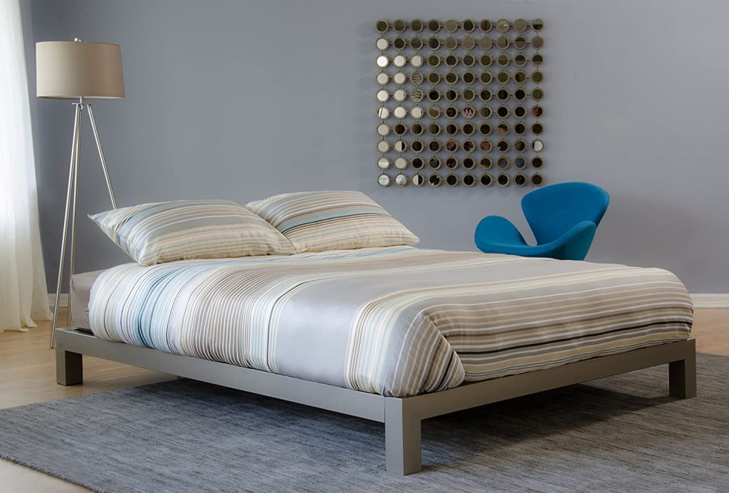 In Style Furnishings Aura Modern Metal Low Profile Thick Slats Support Platform Bed
