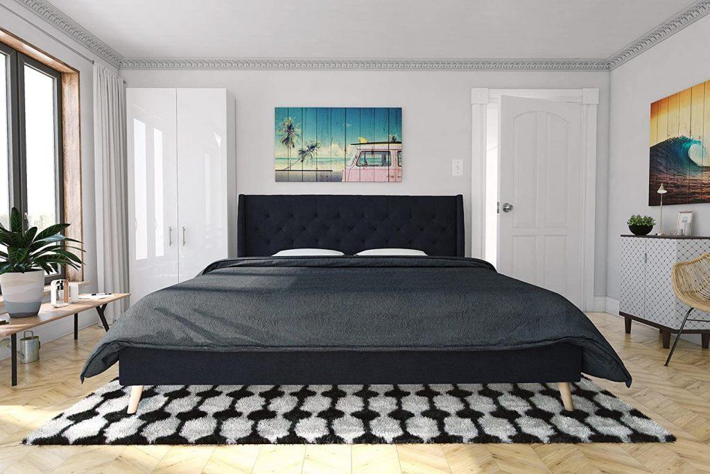 Novogratz Her Majesty Upholstered Linen Bed