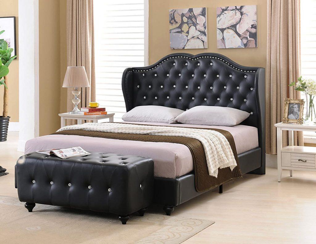Kings Brand Furniture – Black Tufted Design Faux Leather Full Size Upholstered Platform Bed