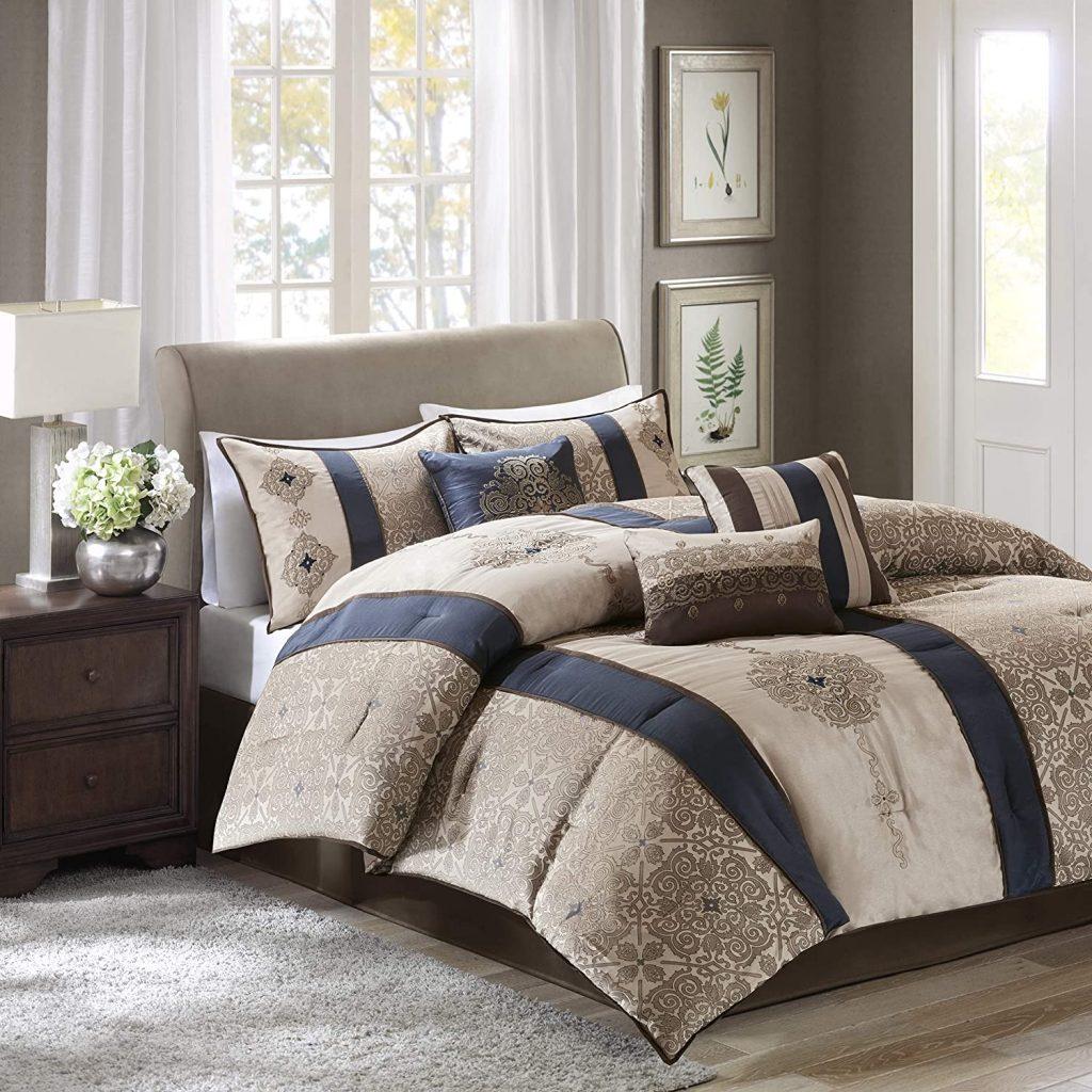 Madison Park Donovan King Size Bag-Taupe, Navy, Jacquard Pattern – 7 Pieces Bedding Sets – Ultra Soft Microfiber Bedroom Comforters