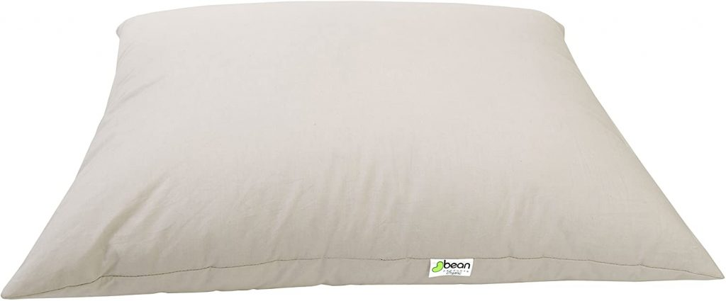 "Bean Products Standard Organic Kapok Pillow - 20"" x 26"" - Organic Cotton Zippered Shell - Made in USA"