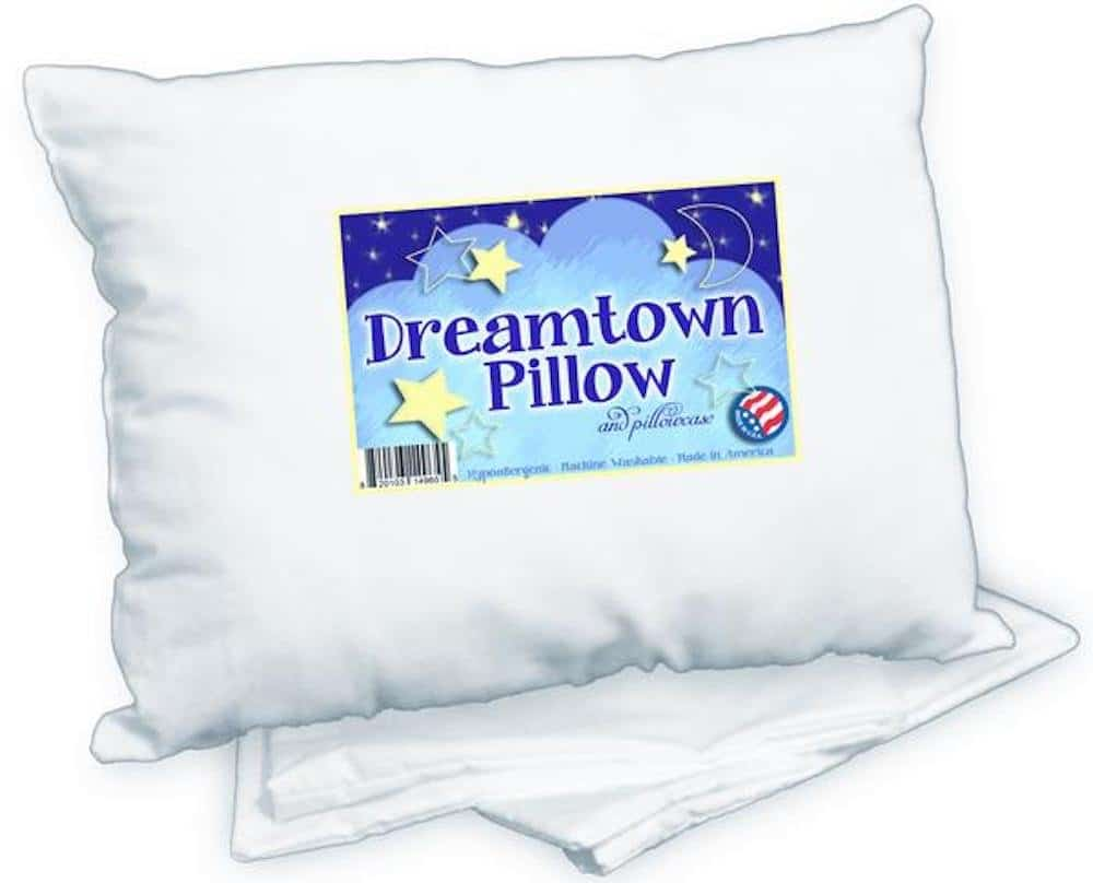 Dreamtown Kids Toddler Pillow with Pillowcase 14x19 White. Chiropractor Recommended. Made in USA