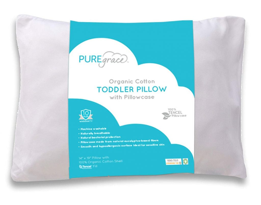 Organic Cotton Toddler Pillow and Pillowcase by PUREgrace