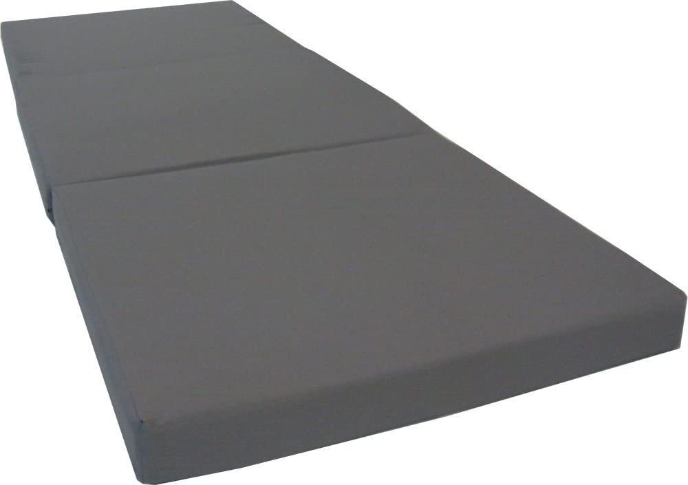 D&D Futon Furniture Gray Trifold Foam Beds 3 x 27 X 75 Inch, Floor Tri-Fold Bed