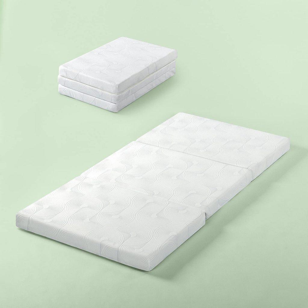 Zinus Gel Memory Foam 3 Inch Tri-Fold Comfort Portable Folding Floor Mat
