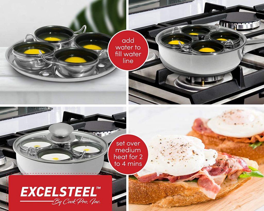 Excel Steel Breakfast Brunch Egg Poacher