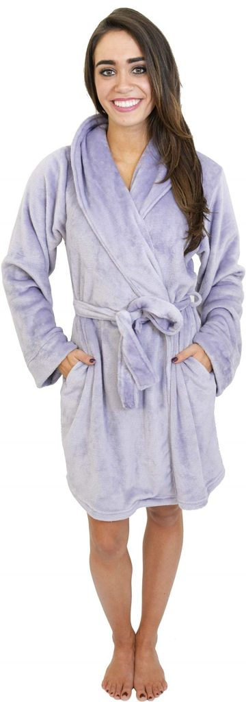 Polyester Plush Shawl Collar Bathrobe Sleepwear