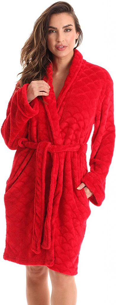 Printed Plush Robe for Women