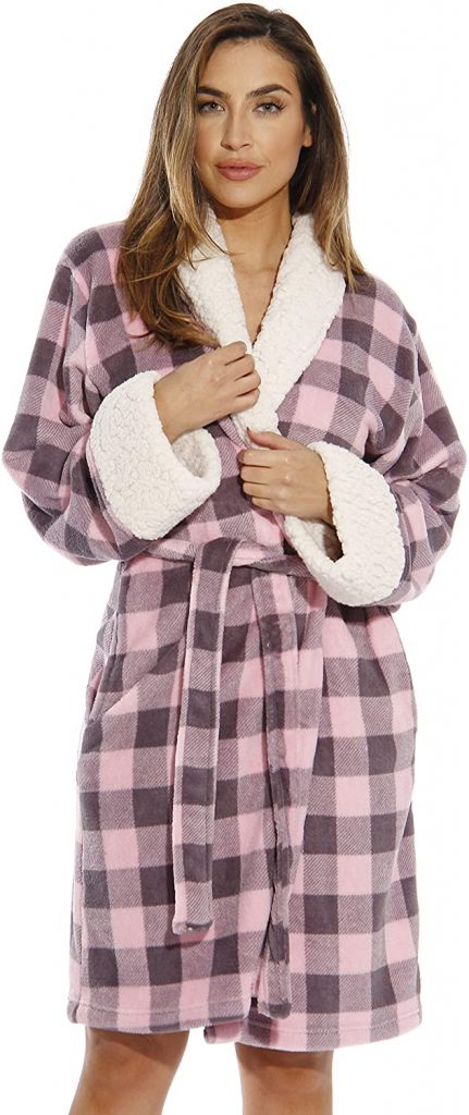 Sherpa Trim Plush Robe