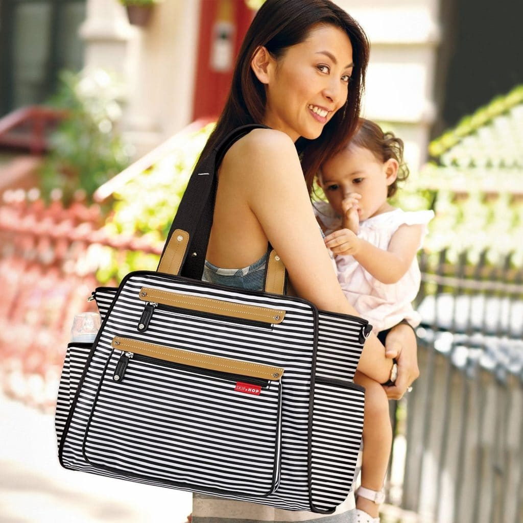 Skip Hop Black & White stripe Diaper Bag