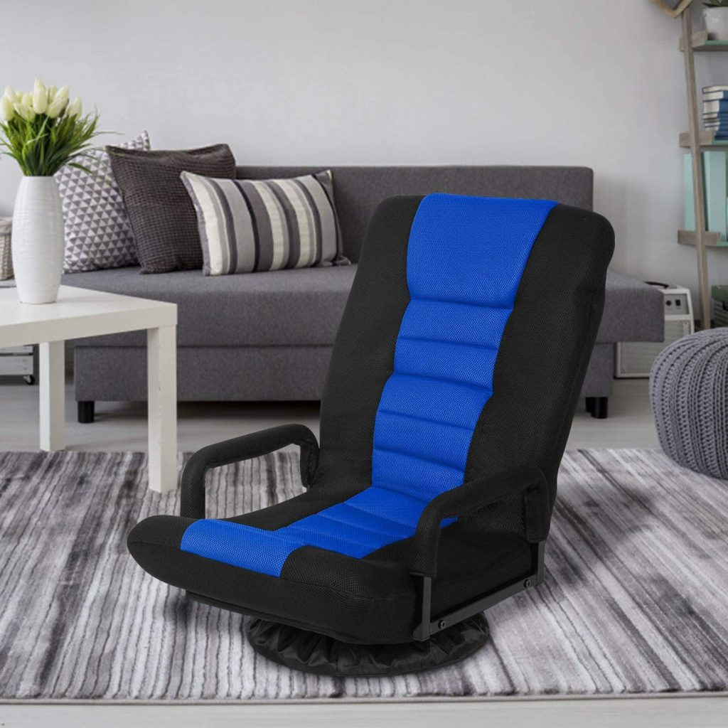 Swivel Gaming Floor Chair with Arms Back Support