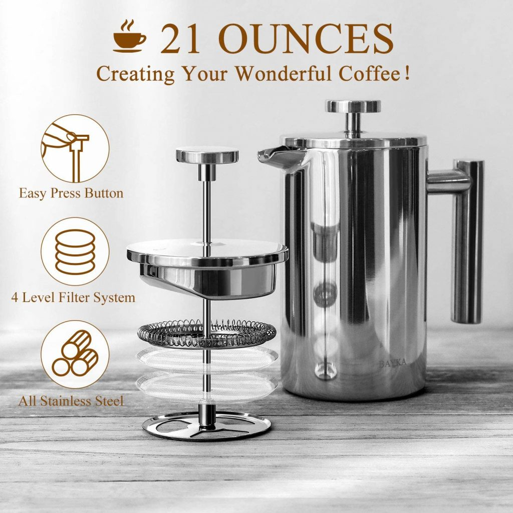 BAYKA Stainless Steel French Press