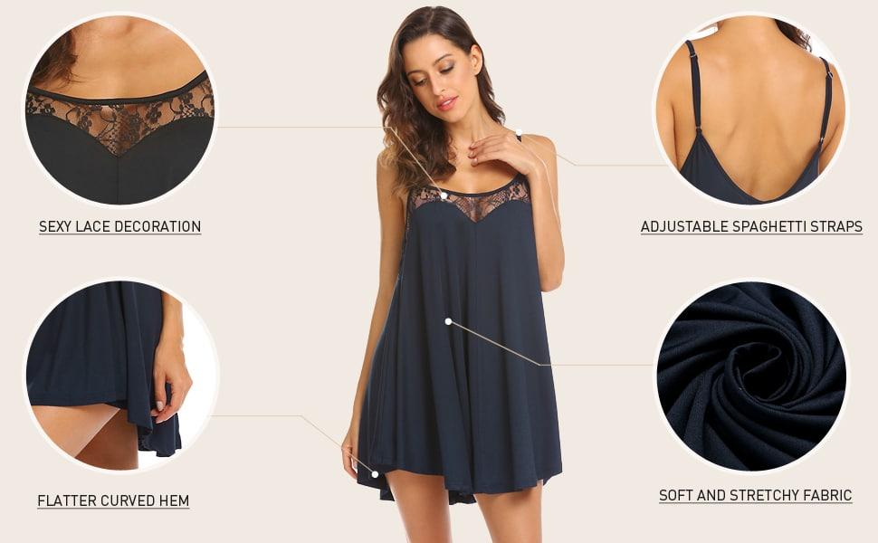 Ekouaer Nightgown Sexy Lingerie